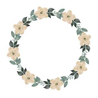 Circle frame with  white flower border for greeting and wedding card