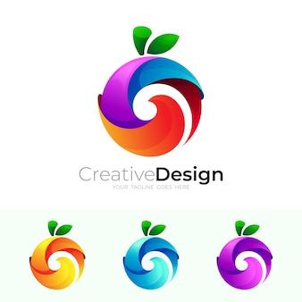 サークルフルーツのロゴと3dカラフルなデザインベクトル