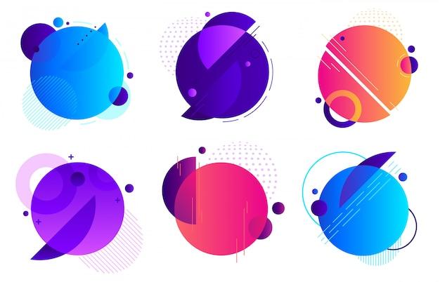 サークルの幾何学的なバッジ。トレンディなラウンドフレーム、色のグラデーションの最小限のバッジと抽象的なフレームテンプレートレイアウト背景セット