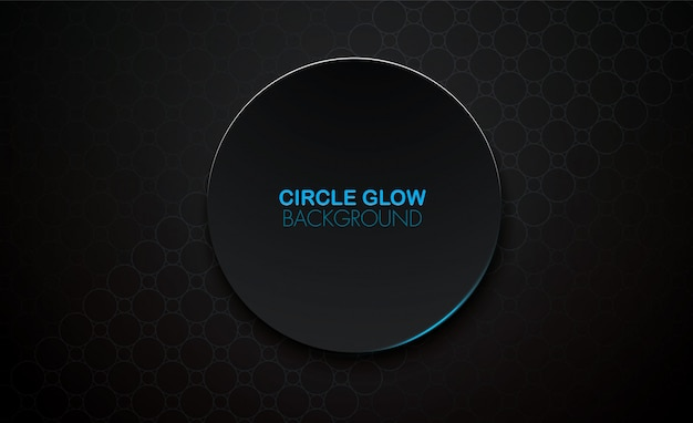Circle glow 3d vector black background, blue glow surface