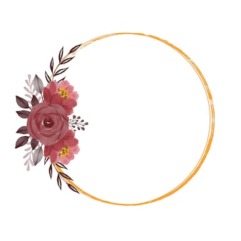 Circle gold frame with red roses bouquet for wedding invitation