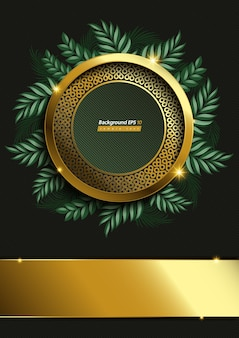 Circle gold and leaf background on dark green color