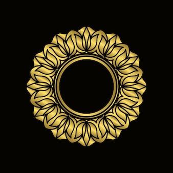 Circle gold mandala frame design element. ornamental decoration. golden mandala flower pattern. elegant floral line.