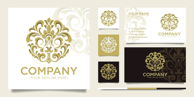 Circle gold ornamental vintage logo and business card template