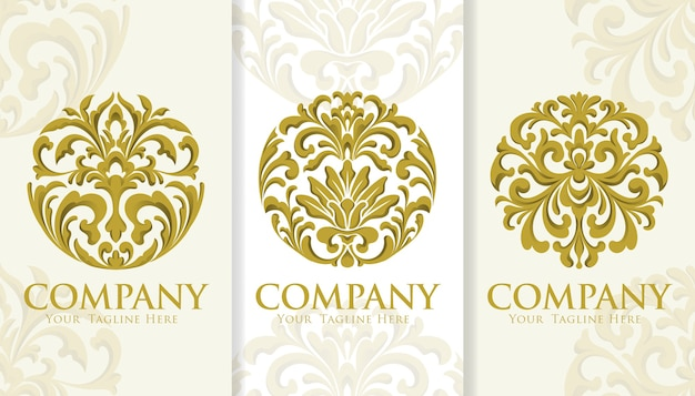 Circle gold ornamental vintage logo template