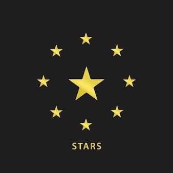Значок золотых звезд круга