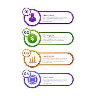 Circle gradient infographic design. four step infographic design template.