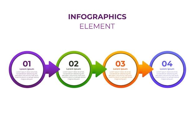 Circle gradient infographic design four step infographic design