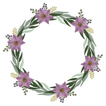 紫色の花のボーダー紫色の花輪とサークル緑の葉フレーム