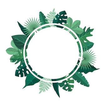Circle green tropical plant summer leaf border frame background