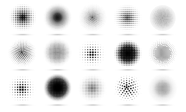 Circle halftone. abstract dotted circles, round halftones geometric dots gradient and pop art texture.