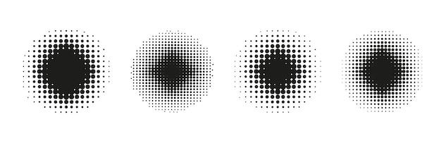 Полутона круга. комический пунктирный радиальный узор. установите абстрактный градиент. принт в стиле поп-арт с эффектом полутона