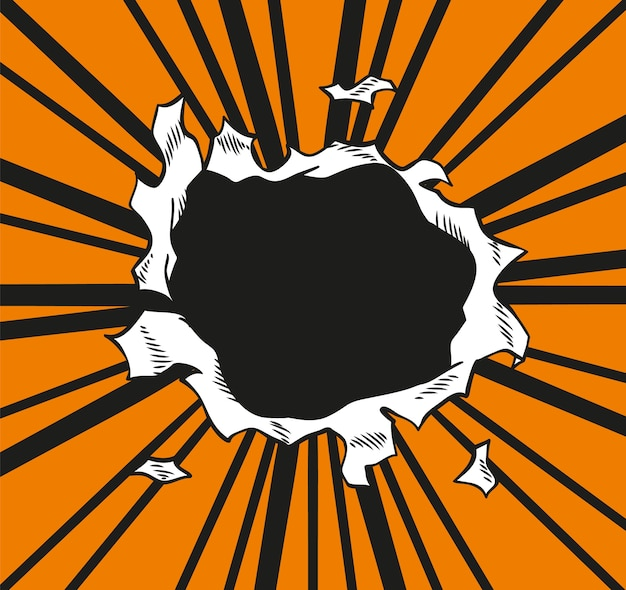 Circle hole in the middle on orange background.