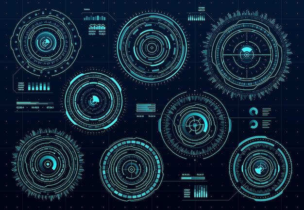 Circle hud digital interface, data dashboard