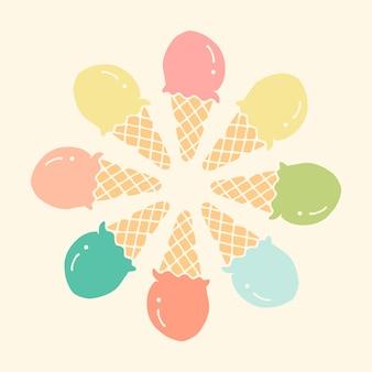 Circle ice cream illustration vector