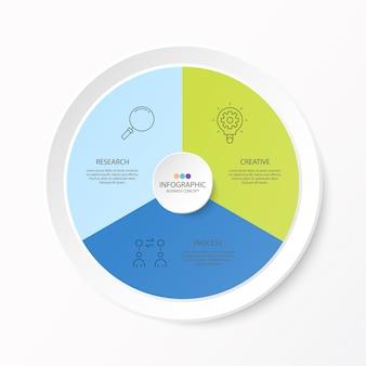 細い線のアイコンと、インフォグラフィック、フローチャート、プレゼンテーション、webサイト、バナー、印刷物の3つのオプションまたはステップを備えた円のインフォグラフィックデザイン。インフォグラフィックビジネスコンセプト。