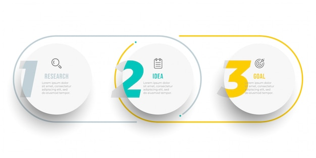 Дизайн этикетки инфографики круг с числами. временная шкала с иконками и 3 вариантами, шагами или процессами.