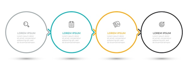 アイコンと矢印の付いた円のインフォグラフィックテンプレートデザイン