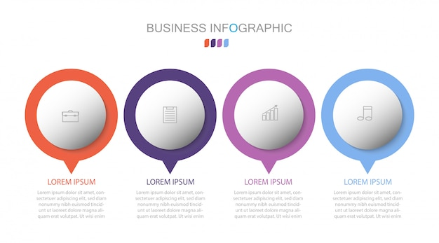 Circle infographic template number options. business concept with 4 options, steps or processes.