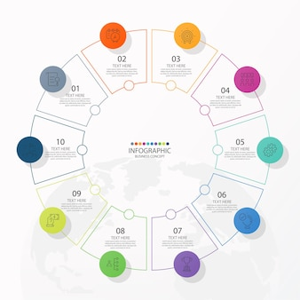 Circle infographic template with 10 steps, process or options, process chart.