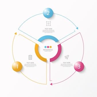 3 단계, 프로세스 또는 옵션, 프로세스 차트가있는 원형 인포 그래픽 템플릿,