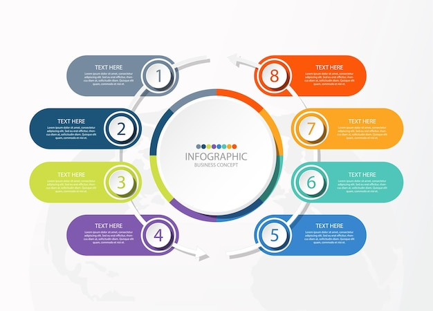 Circle infographic template with 8 steps, process or options, process chart