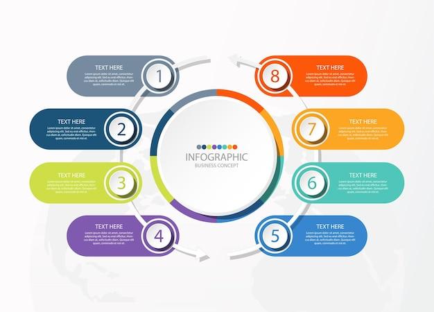 8つのステップ、プロセスまたはオプション、プロセスチャートを含む円のインフォグラフィックテンプレート