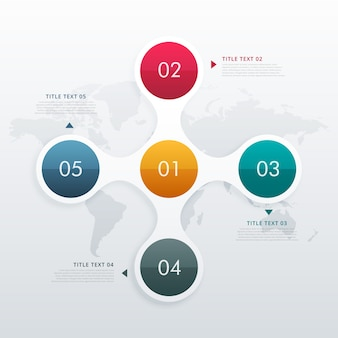 Circle infographic template with five steps