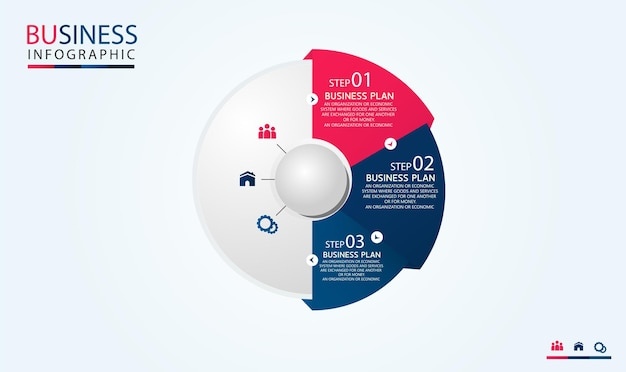 Circle infographic template with four steps or options. process chart used in teaching with a business plan vector illustration eps10