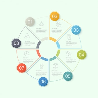 Circle infographic template with icons and 10 options or steps.