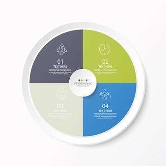細い線のアイコンとインフォグラフィック、フローチャートの4つのオプションまたはステップを含む円のインフォグラフィックテンプレート