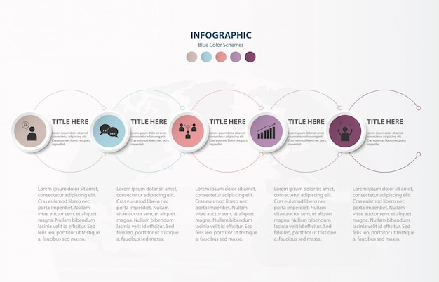 Circle infographics 5 elements template and icons.