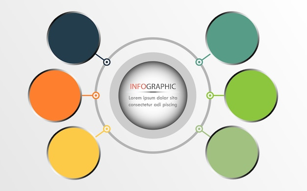 동그라미 인포 그래픽 디자인, 다이어그램에 사용할 수 있습니다. 6 옵션 비즈니스 개념
