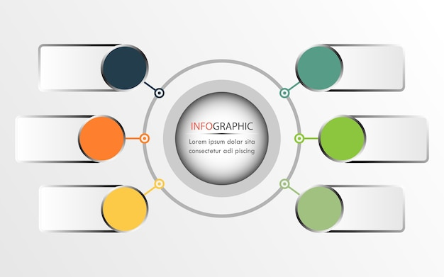 Circle infographics vector can be used for diagram, annual report. business concept with 6
