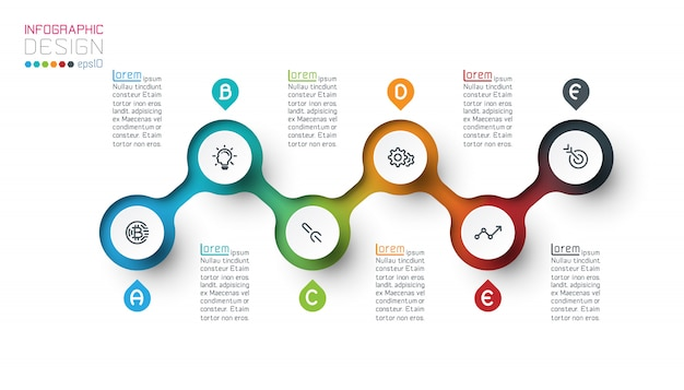 Circle label infographic template with step by steps.