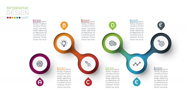 Circle label infographic with step by steps.