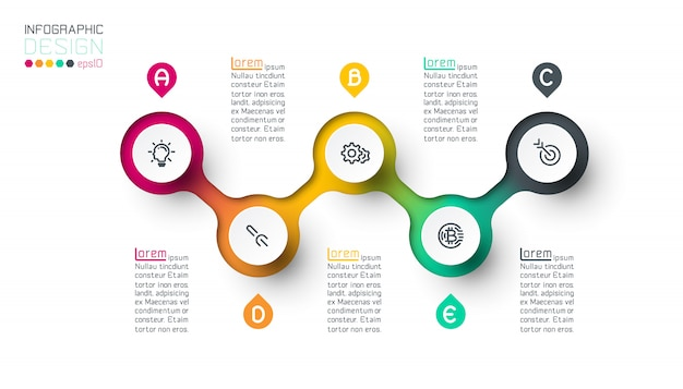 Circle label infographic with step by steps