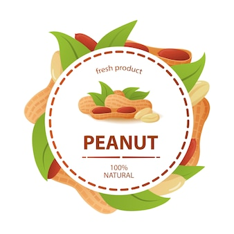 Circle label peanut leaves fresh product 100% natural.