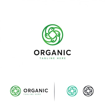 Circle leaf logo template