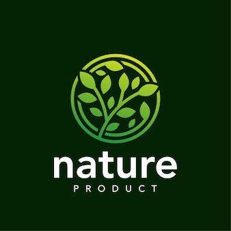 Circle leaf modern nature  logo  template