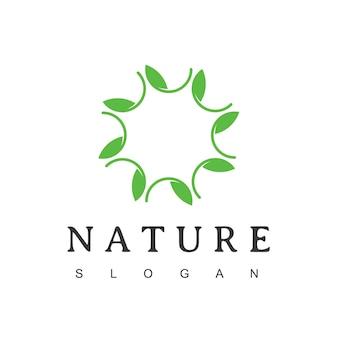 Circle leaf, nature ornament logo