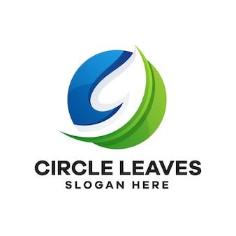 Круг листья градиент дизайн логотипа