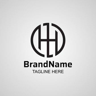 Circle letter h monogram logo design.