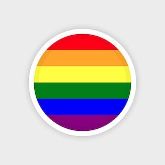 Круг лгбт-флаг с белым фоном