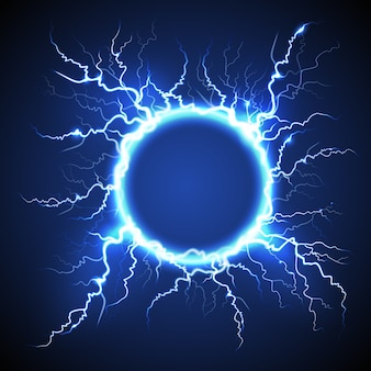 Circle lightning realistic blue background