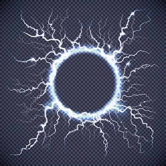 Circle lightning realistic transparent background