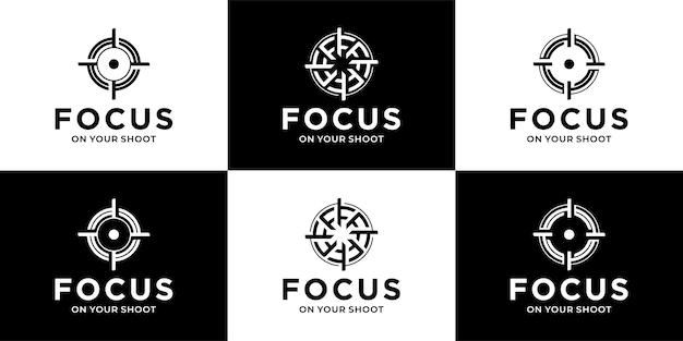 초점의 원 라인, 촬영 아이콘 로고 컬렉션