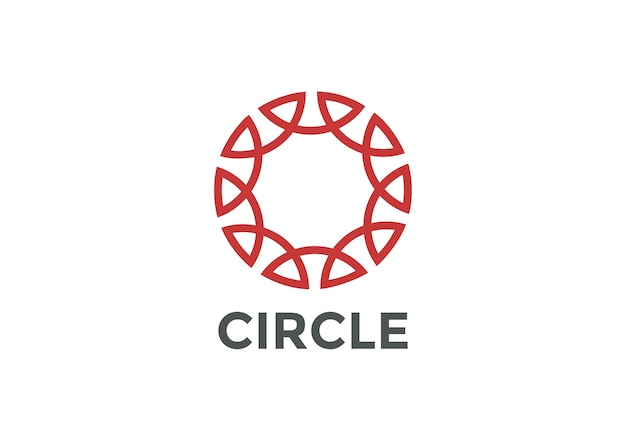 Circle logo abstract linear outline style