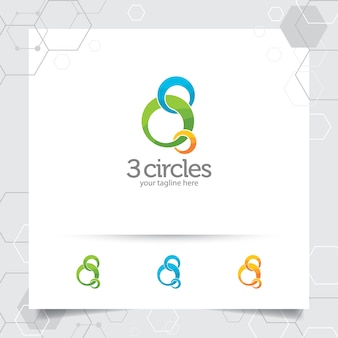 Circle logo design illustration with three swirl circle vector for business .