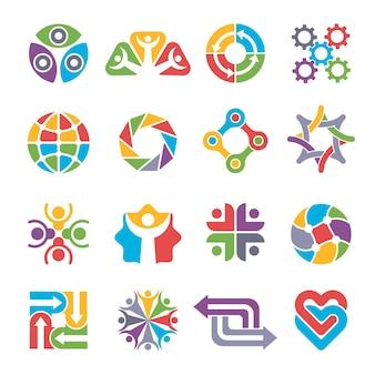 원형 로고 모양. 커뮤니티 그룹 재활용 파트너십 함께 비즈니스 기호 및 로고에 대한 다채로운 추상적 인 형태.